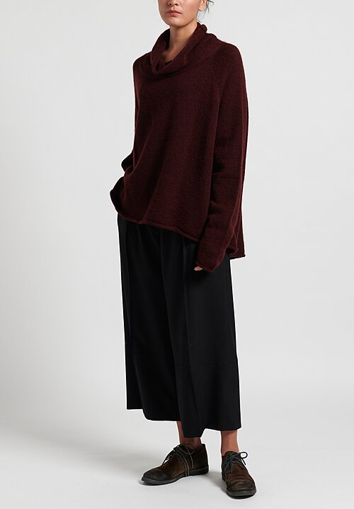 Rundholz Black Label Cowl Neck Pullover in Merlot