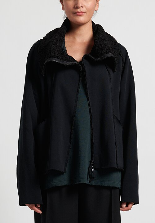 Rundholz Black Label Cowl Neck Wide Jacket in Black