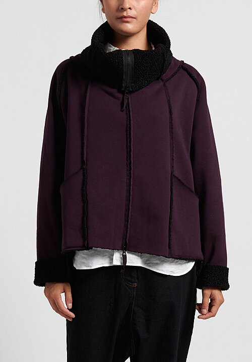 Rundholz Black Label Cowl Neck Wide Jacket in Merlot