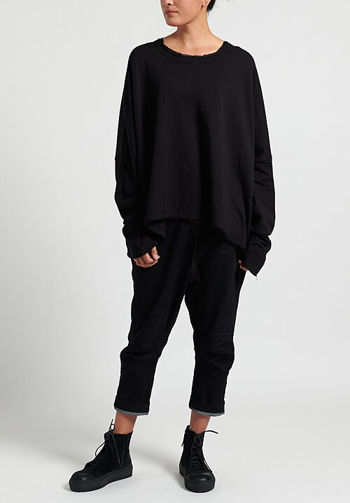 Rundholz Black Label Cotton/ Wool Long Sleeve Tee in Black