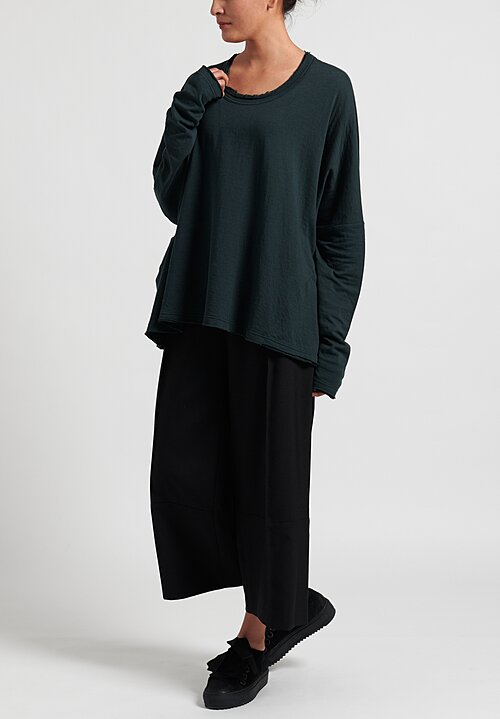 Rundholz Black Label Cotton/ Wool Long Sleeve Tee in Green