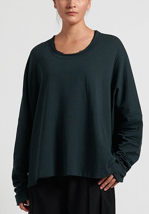 Rundholz Black Label Cotton/ Wool Long Sleeve Tee in Bottle