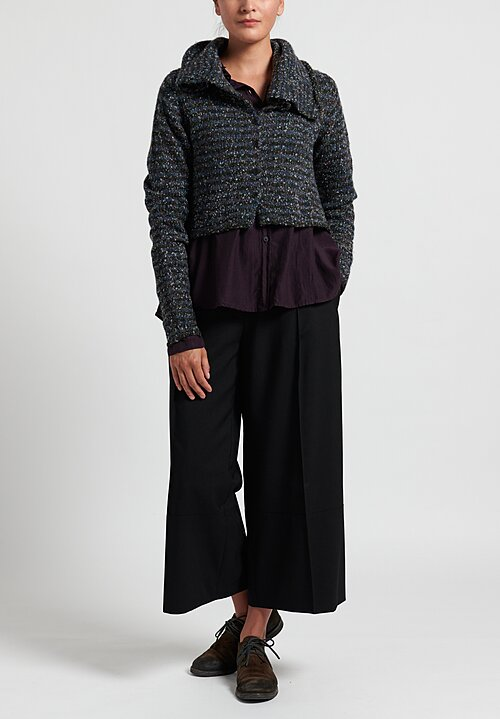 Rundholz Black Label Cropped Cardigan with Long Neck in Original Print