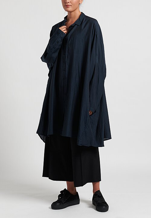 Rundholz Black Label Gathered Back Tunic Dress in Petrol