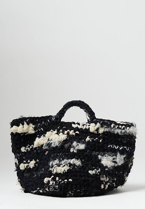 Daniela Gregis Medium Hand Crocheted Bag in Black and White
