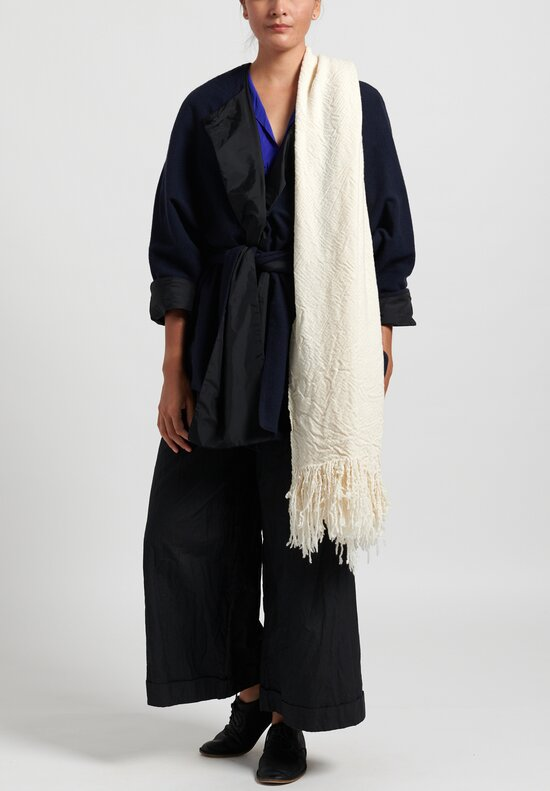 Daniela Gregis Washed Cashmere Snow Shawl in White