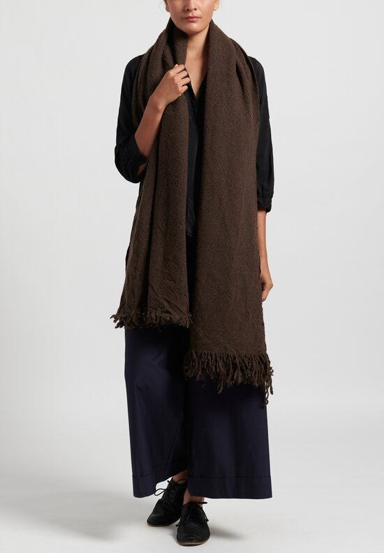 Daniela Gregis Washed Cashmere Snow Shawl in Dark Brown