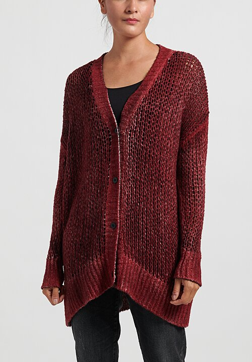 Avant Toi Cashmere/Silk Loose Knit Cardigan in Carruba/ Wine