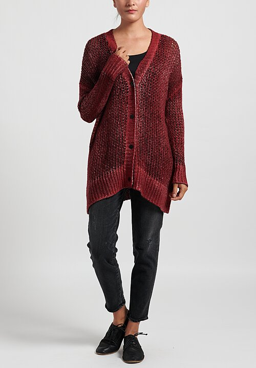 Avant Toi Cashmere/Silk Loose Knit Cardigan in Wine