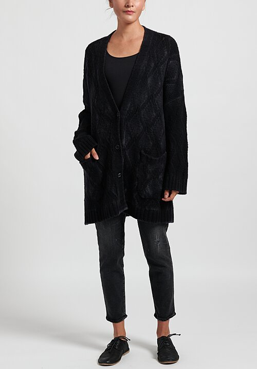 Avant Toi Hand Painted Diamond Knit Cardigan in Nero
