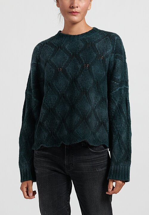 Avant Toi Hand Painted Diamond Knit Sweater in Pavone