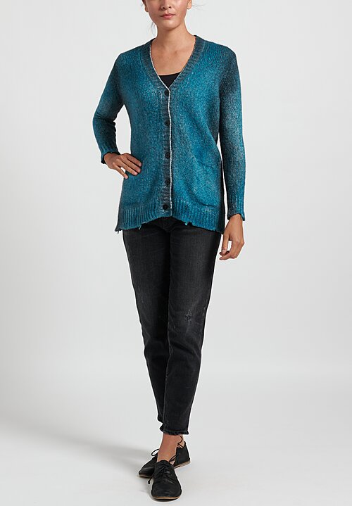 Avant Toi Cardigan with Destroyed Edges in Pavone