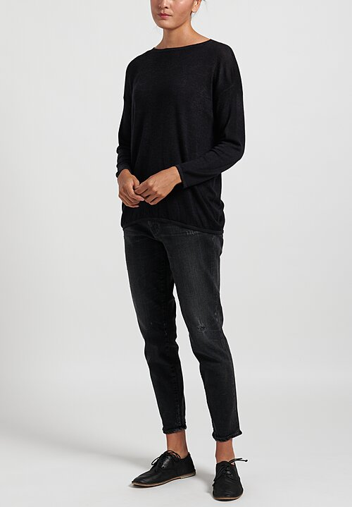 Avant Toi Cashmere/ Silk Lightweight Barchetta Sweater in Nero