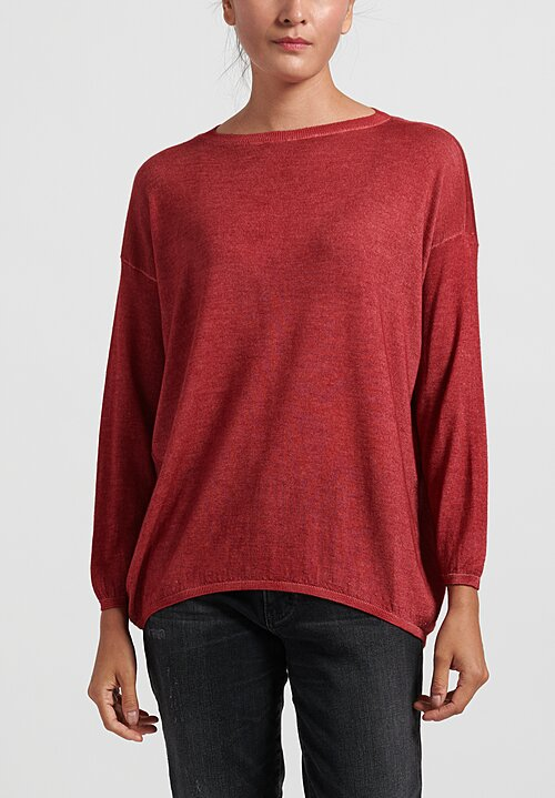 Avant Toi Cashmere/ Silk Lightweight Barchetta Sweater in Wine