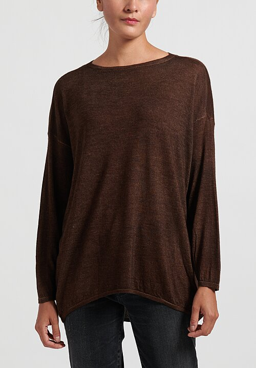 Avant Toi Cashmere/ Silk Lightweight Barchetta Sweater in Suede