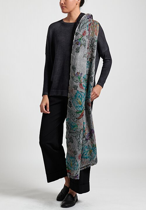 Avant Toi Lightweight Floral Diamond Scarf in Black/ White Multi