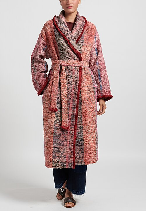 For Restless Sleepers Belted Chamber Coat with Fringe