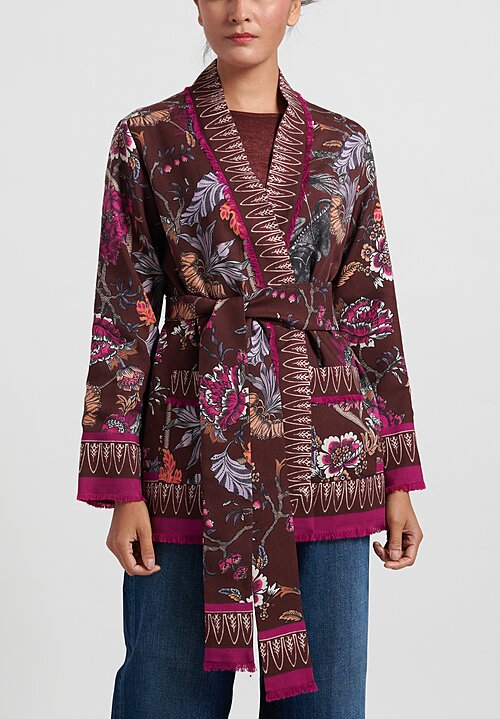 For Restless Sleepers English Flower Kimono Jacket	 in Brown