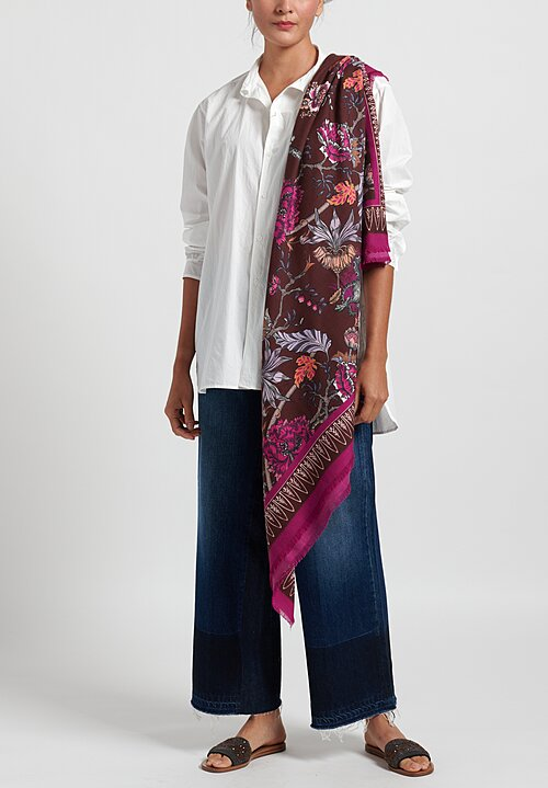 For Restless Sleepers Floral Scarf Brown/ Fuchsia