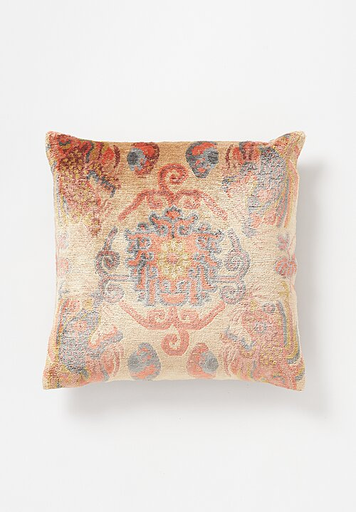 Tibet Home Bamboo Silk/ Cotton Hand Knotted & Woven Square Pillow in New Dragon Peach