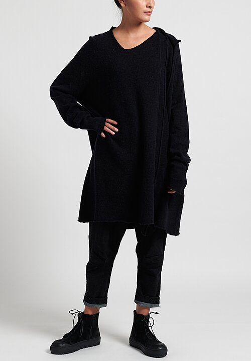 Rundholz Black Label Long Sleeve Knit Panel Tunic in Black