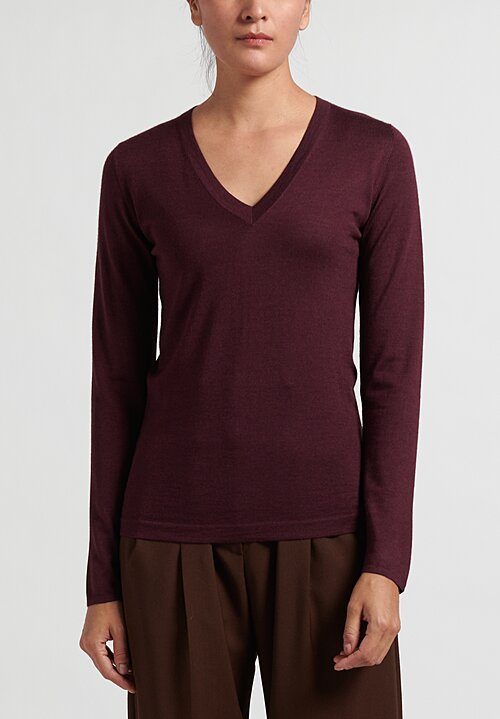 Brunello Cucinelli Lightweight V-Neck Sweater in Mulberry
