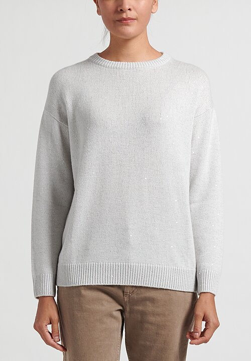 Brunello Cucinelli Cashmere/ Silk Crewneck Sequin Sweater