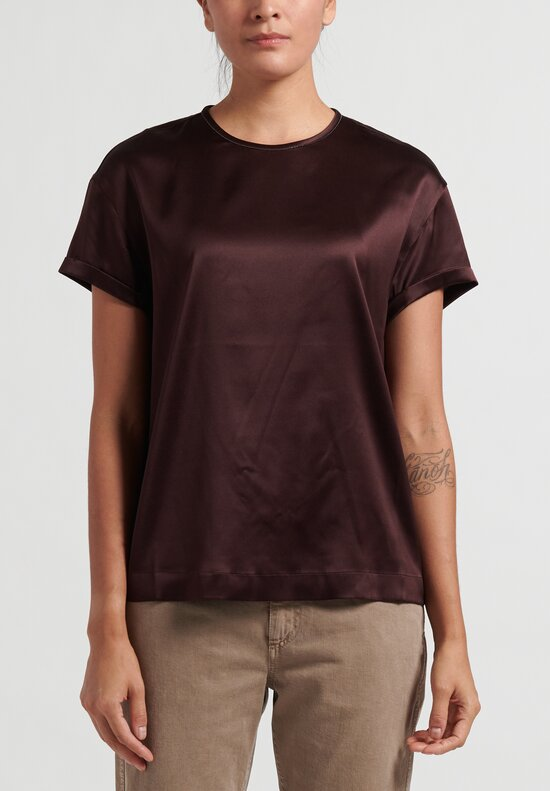 Brunello Cucinelli Satin Monili TShirt in Mulberry