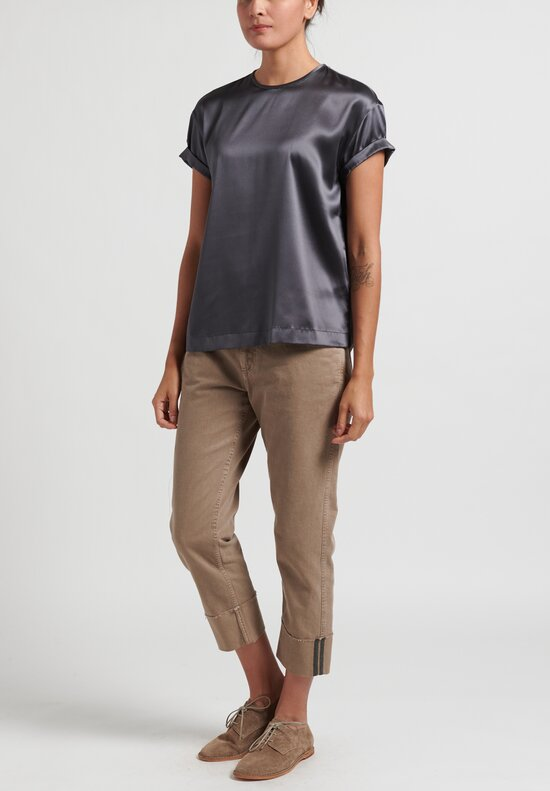 Brunello Cucinelli Satin Monili TShirt in Steel