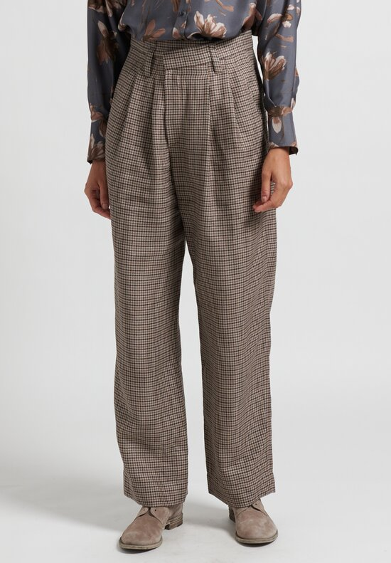 Brunello Cucinelli Pleated Houndstooth Pants in Taupe
