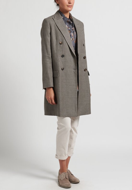 Brunello Cucinelli Houndstooth Overcoat in Beige