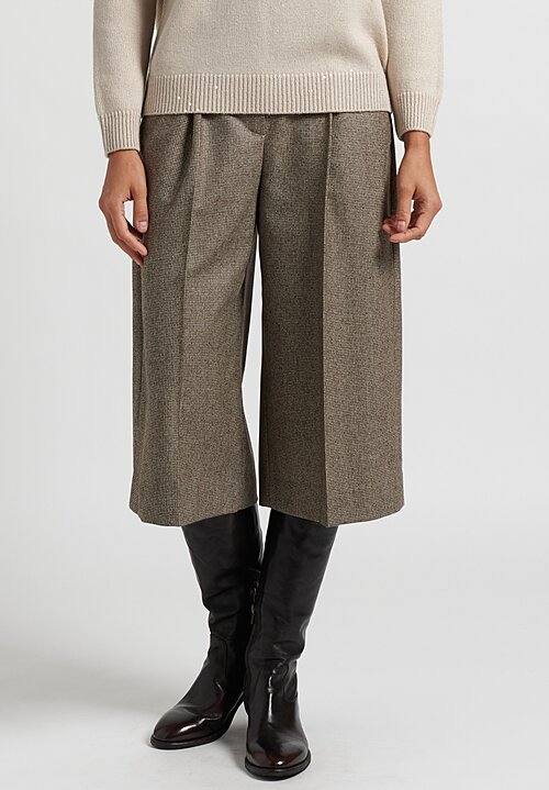 Brunello Cucinelli Cropped Wide Leg Pants in Taupe