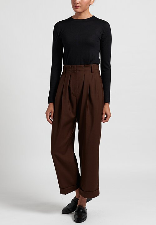 Brunello Cucinelli Cropped Wide Leg Pleated Pants in Mahogany