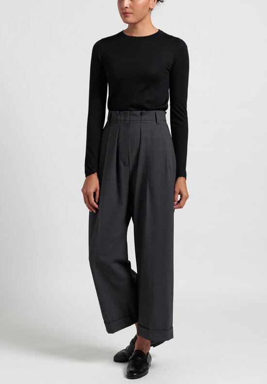 Brunello Cucinelli Wide Leg Pleated Pants in Steel