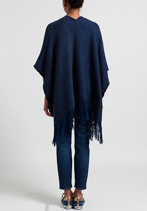Wehve Merino Oversized Ava Cape in Deepest Sea