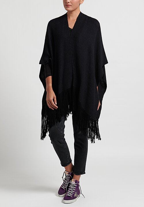 Wehve Merino Oversized Ava Cape in Dark Malachite
