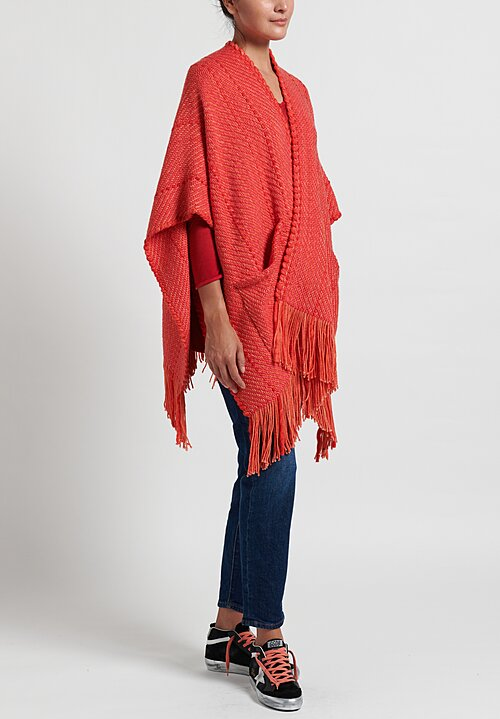 Wehve Merino Oversized Anastasia Cape with Pockets in Ruby Grapefruit