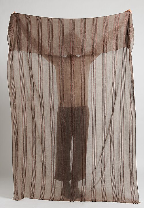 Brunello Cucinelli Metallic Striped Scarf Taupe/ Copper