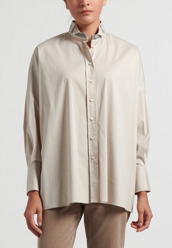 Brunello Cucinelli Monili Button Up Shirt in Beige