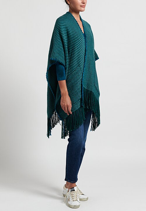 Wehve Merino Oversized Anastasia Cape with Pockets in Bright Malachite