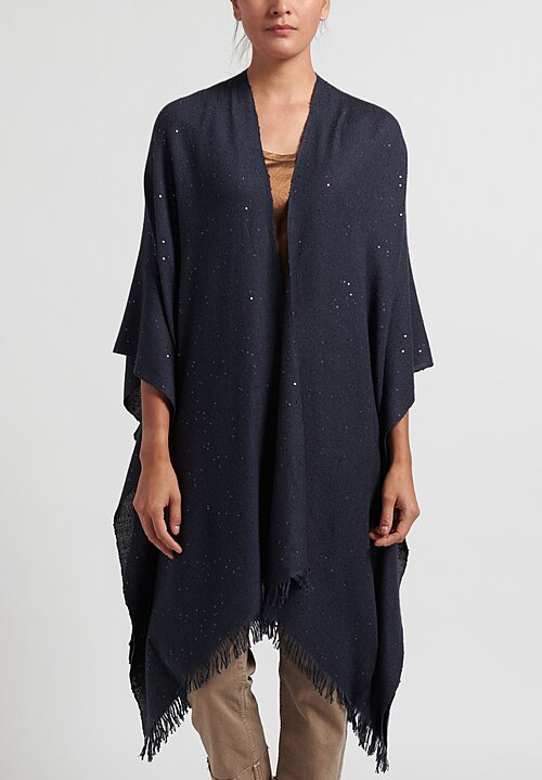 Brunello Cucinelli Paillette Poncho in Navy