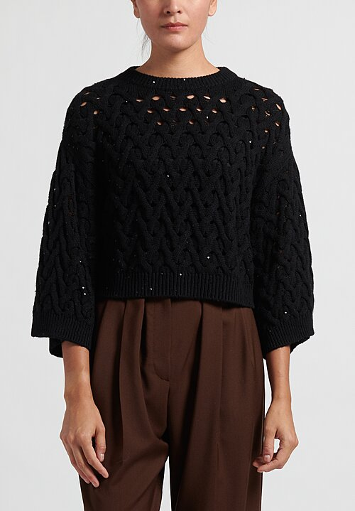 Brunello Cucinelli Cable Knit Cropped Sweater in Black