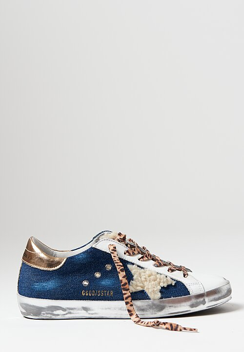 Golden Goose Superstar Classic Denim Shearling Shoe in Blue/ Beige