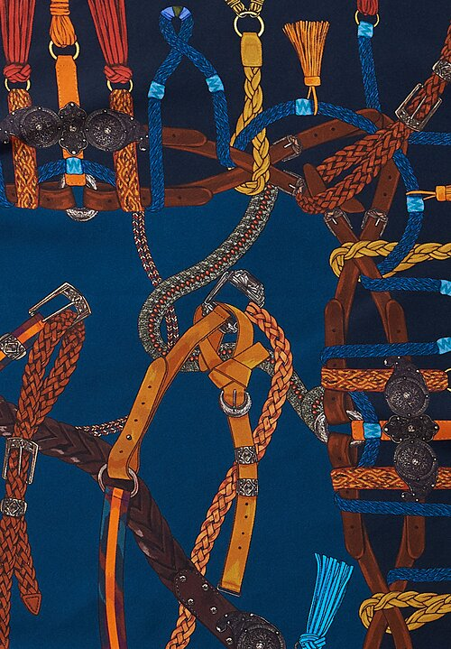 Etro Entangled Belt Print Foulard in Navy