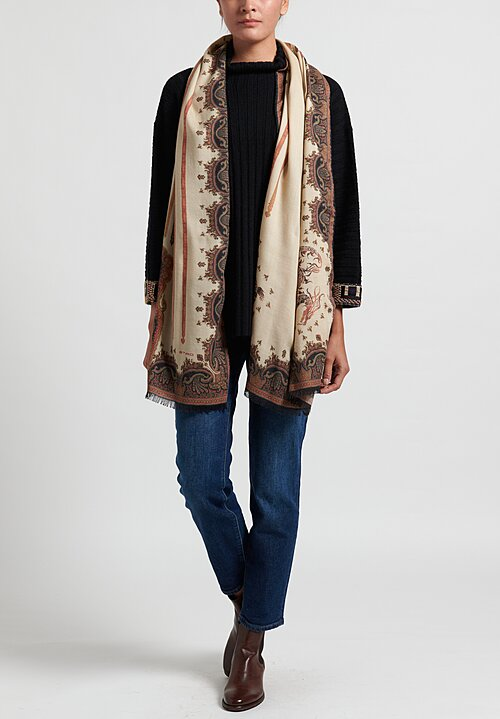 Etro Paisley Dragon Scarf in Beige/ Black