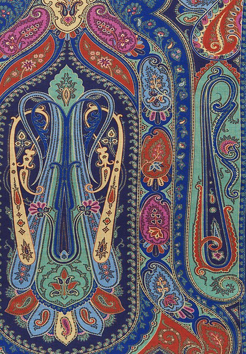 Etro Multiprint Paisley Archway Scarf Blue