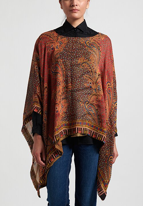 Etro Silk Twin Panel Poncho