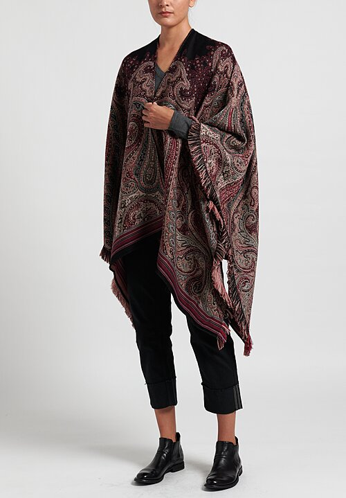 Etro Paisley Fringed Cape in Purple
