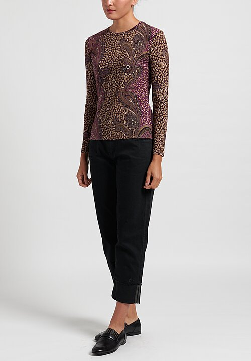 Etro Crewneck Paisley Top in Purple