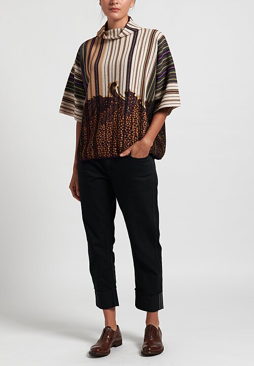 Etro Striped Dolman Sleeve Top in Gold